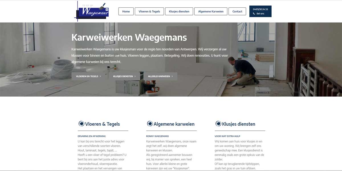 Websiteproject Karweiwerken Waegemans